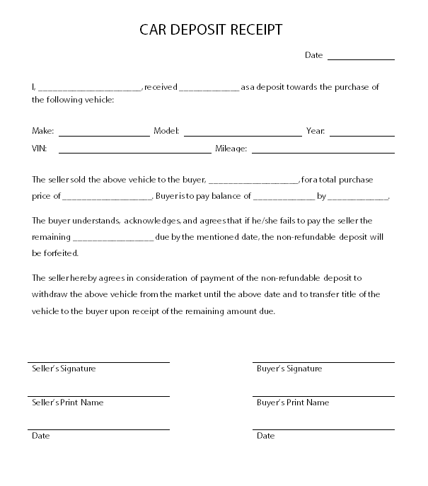 Car Deposit Receipt Template – Sample Vehicle Purchase Agreement
