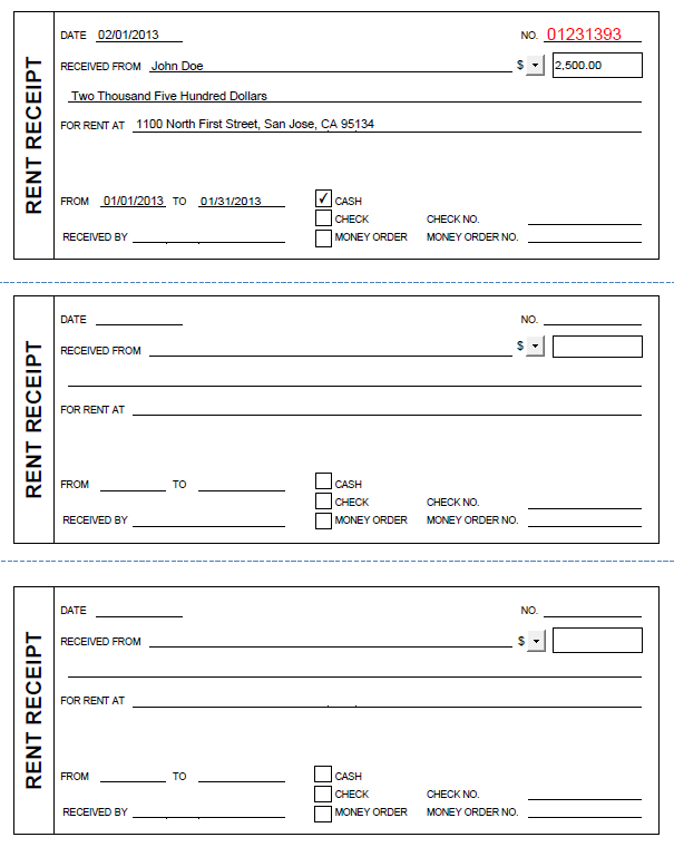 Printable Rent Receipt in PDF Form – Rent Recipt