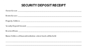 Rental deposit receipt template for Car deposit contract template