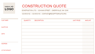 construction quotation template .