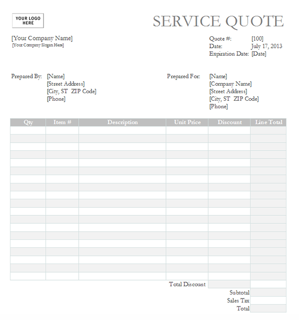 Service Quote Template | Free Service Quote Template for Excel