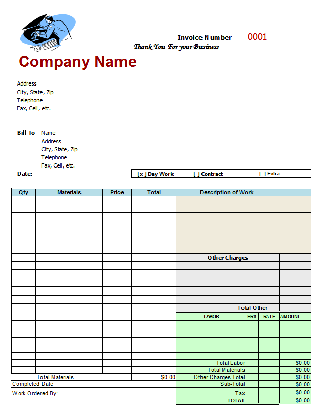 Auto Repair Invoice Template Free Auto Repair Invoice Template - Car repair invoice template