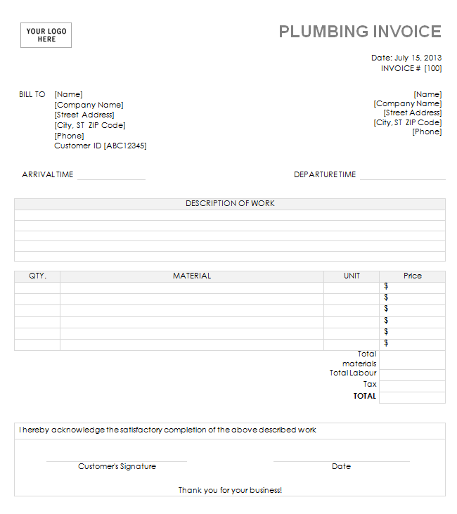Plumbing Invoice Template Download A Free Plumbing Invoice Template - Time invoice template