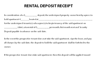 Rental Deposit Receipt Template