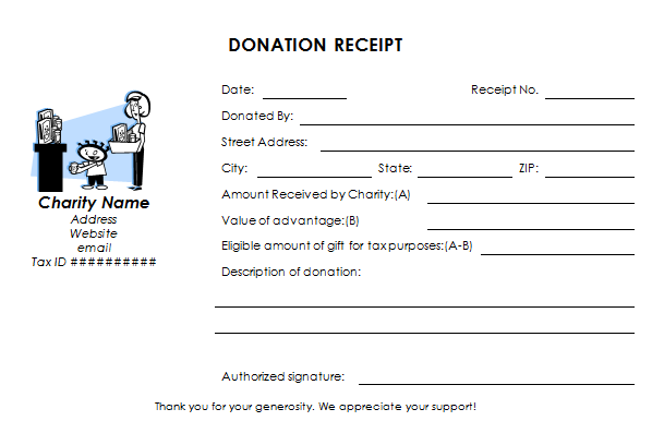 Tax Deductible Donation Receipt Template - Donation invoice template